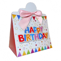 Triangle Gift Boxes with Mini Bows - LARGE BIRTHDAY/PINK BOWS (pk10)