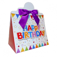 Triangle Gift Boxes with Mini Bows - LARGE BIRTHDAY/PURPLE BOWS (pk10)