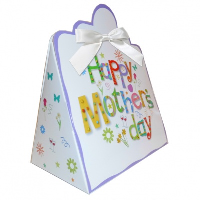 Triangle Gift Boxes with Mini Bows - LARGE MOTHER'S DAY/WHITE BOWS (pk10)