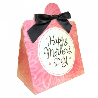 Triangle Gift Boxes with Mini Bows - LARGE FLOWERS/BLACK BOWS (pk10)