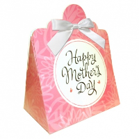 Triangle Gift Boxes with Mini Bows - LARGE FLOWERS/WHITE BOWS (pk10)