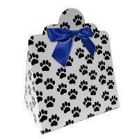 Triangle Gift Boxes with Mini Bows - LARGE PAW PRINTS/NAVY BOWS (pk10)