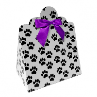 Triangle Gift Boxes with Mini Bows - LARGE PAW PRINTS/PURPLE BOWS (pk10)