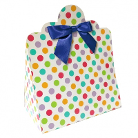 Triangle Gift Boxes with Mini Bows - LARGE SPOTS/NAVY BOWS (pk10)