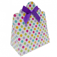 Triangle Gift Boxes with Mini Bows - LARGE SPOTS/PURPLE BOWS (pk10)