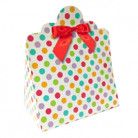 Triangle Gift Boxes with Mini Bows - LARGE SPOTS/RED BOWS (pk10)