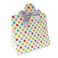 Triangle Gift Boxes with Mini Bows - LARGE SPOTS/SILVER BOWS (pk10)
