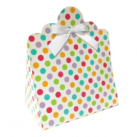 Triangle Gift Boxes with Mini Bows - LARGE SPOTS/WHITE BOWS (pk10)