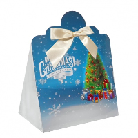 Triangle Gift Box with Mini Bows - LARGE CHRISTMAS TREE/CREAM BOWS (PK10)