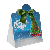 Triangle Gift Box with Mini Bows - LARGE CHRISTMAS TREE/GREEN BOWS (PK10)