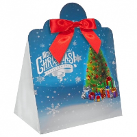 Triangle Gift Box with Mini Bows - LARGE CHRISTMAS TREE/RED BOWS (PK10)