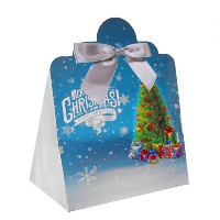 Triangle Gift Box with Mini Bows - LARGE CHRISTMAS TREE/SILVER BOWS (PK10)