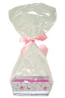 10 x MINI Gift Kits with Cello Bag & Bow 12x8x4cm - LITTLE GIRL/PINK