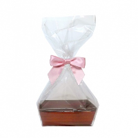 10 x MINI Gift Kits with Cello Bag & Bow 12x8x4cm - WOODEN CRATE TRAYS/PINK BOWS