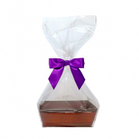 10 x MINI Gift Kits with Cello Bag & Bow 12x8x4cm - WOODEN CRATE TRAYS/PURPLE BOWS