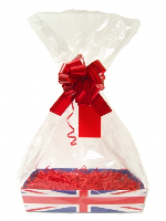 Complete Gift Basket Kit - (Medium) UNION JACK TRAY / RED ACCESSORIES