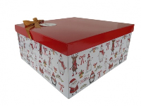 GIFT BOX with Lid, Bow and Tissue - (Small) CHRISTMAS CHARACTERS