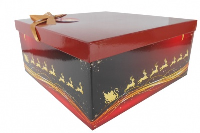 GIFT BOX with Lid, Bow and Tissue - (Small) RED/GOLD REINDEER