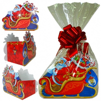 10 x Complete Gift Box Kit with Tissue, Bag, Bow and Tag - SANTA SLEIGH