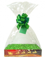 BULK Gift Basket Kit - (Small) REINDEER EASY FOLD TRAY / GREEN ACCESSORIES x10