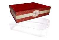 10 x Easy Fold Trays with Acetate Boxes - (20x15x5cm) SMALL MERRY CHRISTMAS TRAYS/CLEAR ACETATE BOXES