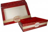 10 x Easy Fold Trays with Sleeves - (20x15x5cm) SMALL MERRY CHRISTMAS TRAYS/MERRY CHRISTMAS SLEEVES