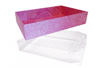 10 x Easy Fold Trays with Acetate Boxes - (20x15x5cm) SMALL PINK FLOWERS TRAYS/CLEAR ACETATE BOXES
