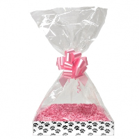 BULK Gift Basket Kit - (Small) PAW PRINT EASY FOLD TRAY / PINK ACCESSORIES x10