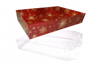 10 x Easy Fold Trays with Acetate Boxes - (20x15x5cm) SMALL SNOWFLAKES TRAYS/CLEAR ACETATE BOXES