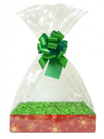 Complete Gift Basket Kit - (Small) SNOWFLAKES EASY FOLD TRAY/GREEN ACCESSORIES