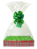 Complete Gift Basket Kit - (Small) TARTAN EASY FOLD TRAY/GREEN ACCESSORIES