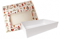 10 x Easy Fold Trays with Sleeves - (20x15x5cm) SMALL WHITE TRAYS/CHRISTMAS CHARACTER SLEEVES
