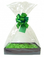 Complete Gift Basket Kit - (Medium) BLACK EASY FOLD TRAY / GREEN ACCESSORIES