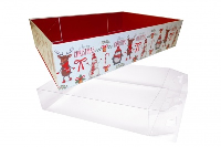 10 x Easy Fold Trays with Acetate Boxes - (30x20x6cm) MEDIUM CHRISTMAS CHARACTER TRAYS/CLEAR ACETATE BOXES