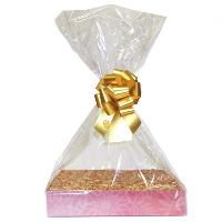 Complete Gift Basket Kit - (Medium) PINK FLOWERS EASY FOLD TRAY / GOLD ACCESSORIES
