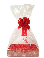 Complete Gift Basket Kit - (Medium) SNOWFLAKE EASY FOLD TRAY / RED ACCESSORIES