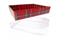 10 x Easy Fold Trays with Acetate Boxes - (30x20x6cm) MEDIUM TARTAN TRAYS/CLEAR ACETATE BOXES