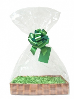 Complete Gift Basket Kit - (Medium) WICKER EASY FOLD TRAY / GREEN ACCESSORIES