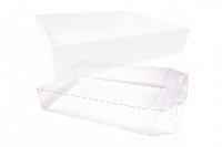 10 x Easy Fold Trays with Acetate Boxes - (30x20x6cm) MEDIUM WHITE TRAYS/CLEAR ACETATE BOXES