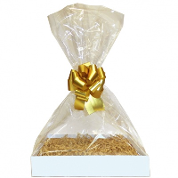 Complete Gift Basket Kit - (Medium) WHITE EASY FOLD TRAY / GOLD ACCESSORIES