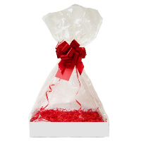 Complete Gift Basket Kit - (Medium) WHITE EASY FOLD TRAY / RED ACCESSORIES