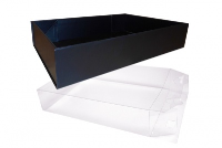 10 x Easy Fold Trays with Acetate Boxes - (35x24x8cm) LARGE BLACK TRAYS/CLEAR ACETATE BOXES