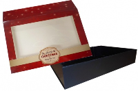10 x Easy Fold Trays with Sleeves - (35x24x8cm) LARGE BLACK TRAYS/MERRY CHRISTMAS SLEEVES