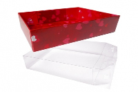 10 x Easy Fold Trays with Acetate Boxes - (35x24x8cm) LARGE HEARTS TRAYS/CLEAR ACETATE BOXES
