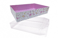 10 x Easy Fold Trays with Acetate Boxes - (35x24x8cm) LARGE LITTLE GIRL TRAYS/CLEAR ACETATE BOXES