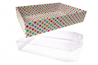 10 x Easy Fold Trays with Acetate Boxes - (35x24x8cm) LARGE SPOTTY TRAYS/CLEAR ACETATE BOXES