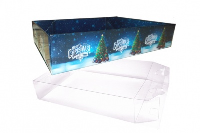 10 x Easy Fold Trays with Acetate Boxes - (35x24x8cm) LARGE CHRISTMAS TREE TRAYS/CLEAR ACETATE BOXES