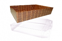 10 x Easy Fold Trays with Acetate Boxes - (35x24x8cm) LARGE WICKER TRAYS/CLEAR ACETATE BOXES