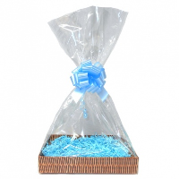 Complete Gift Basket Kit - (Large) WICKER EASY FOLD TRAY / BLUE ACCESSORIES