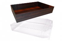 10 x Easy Fold Trays with Acetate Boxes - (35x24x8cm) LARGE WOODEN CRATE TRAYS/CLEAR ACETATE BOXES
